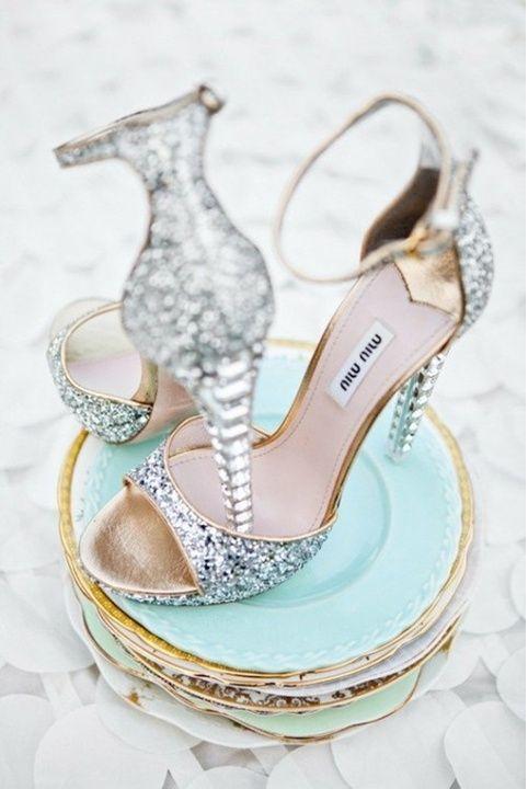Silver Wedding Shoe