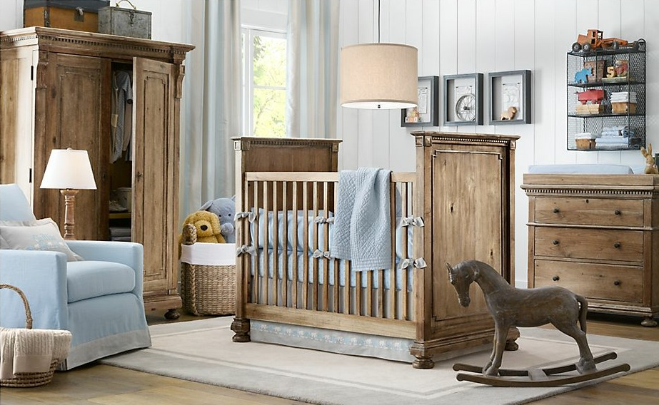 Blue-white-wood-boys-nursery-design