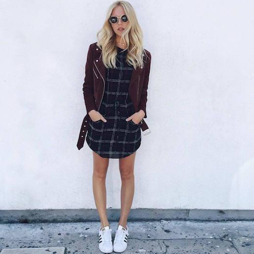 le-fashion-blog-25-ways-to-wear-adidas-sneakers-suede-burgundy-moto-jacket-plaid-dress-superstar-shea-marie-via-peaceloveshea